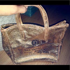 YSL Yves Saint Lauren Gold Mail Tote Bag